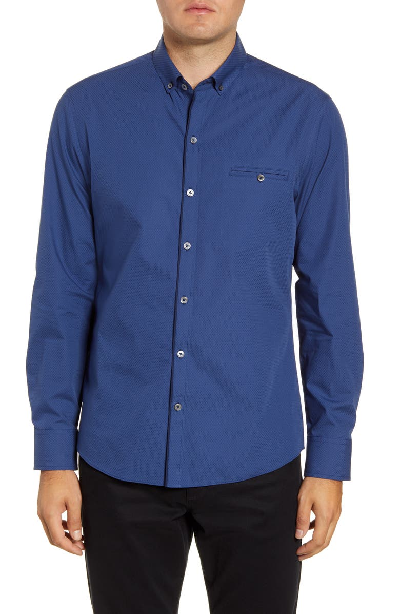 ZACHARY PRELL Evano Regular Fit Dobby Button-Down Shirt, Main, color, 401