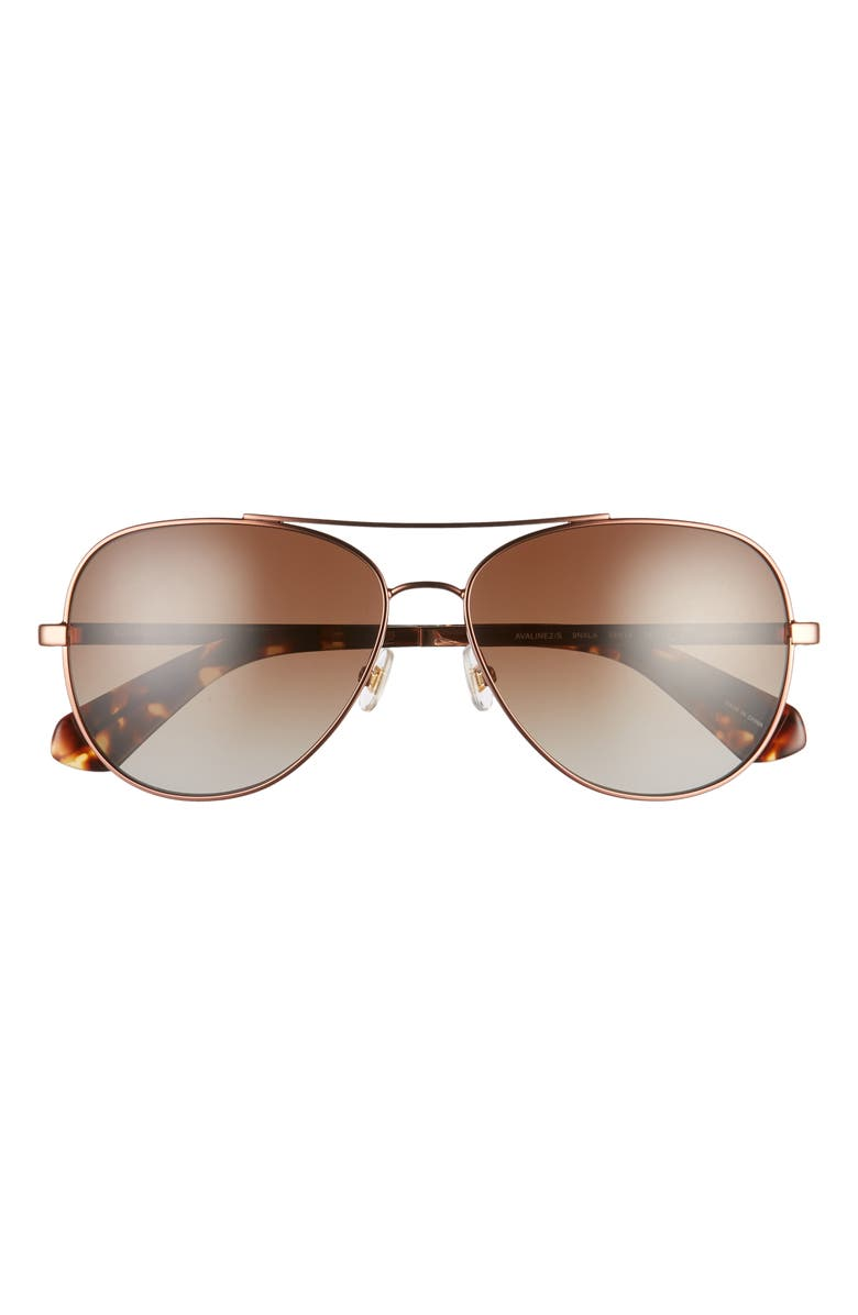 KATE SPADE NEW YORK avaline 2 58mm polarized aviator sunglasses, Main, color, DARK HAVANA/ BROWN GRAD