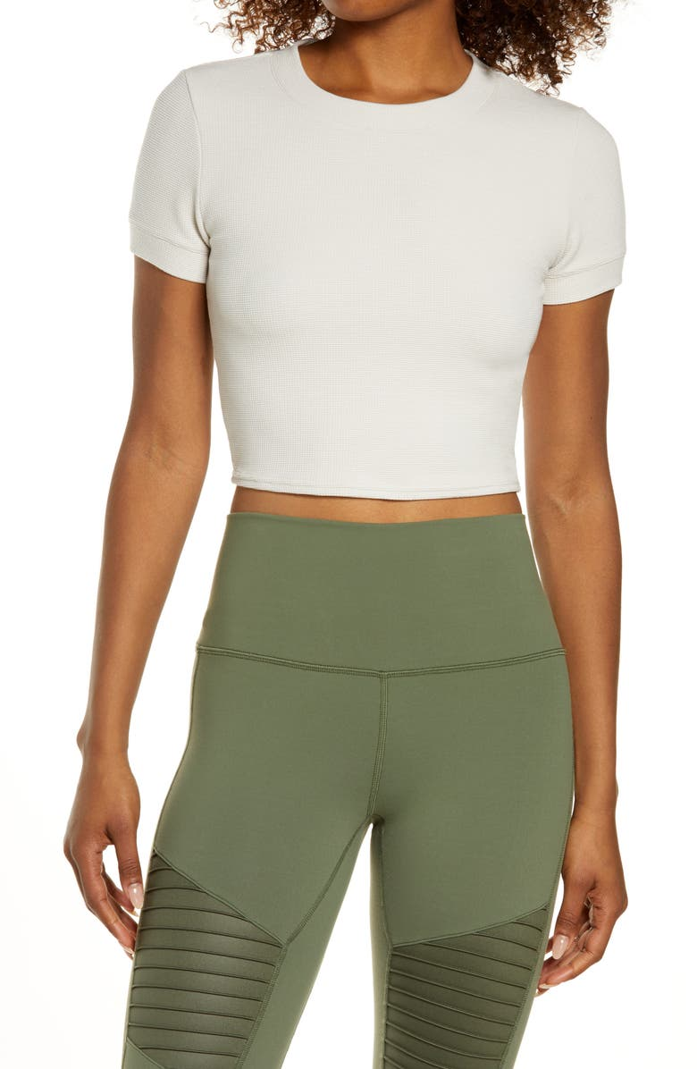 ALO Pure Thermal Crop Top, Main, color, BONE