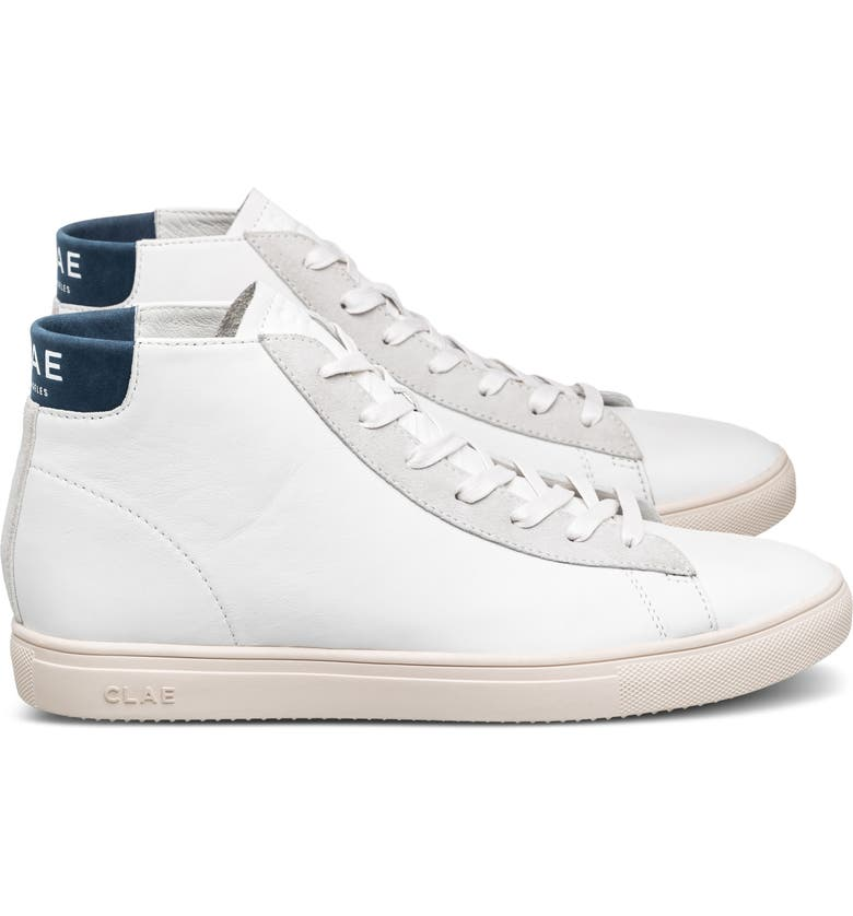 CLAE Bradley Mid Sneaker, Main, color, WHITE LEATHER ENSIGN BLUE