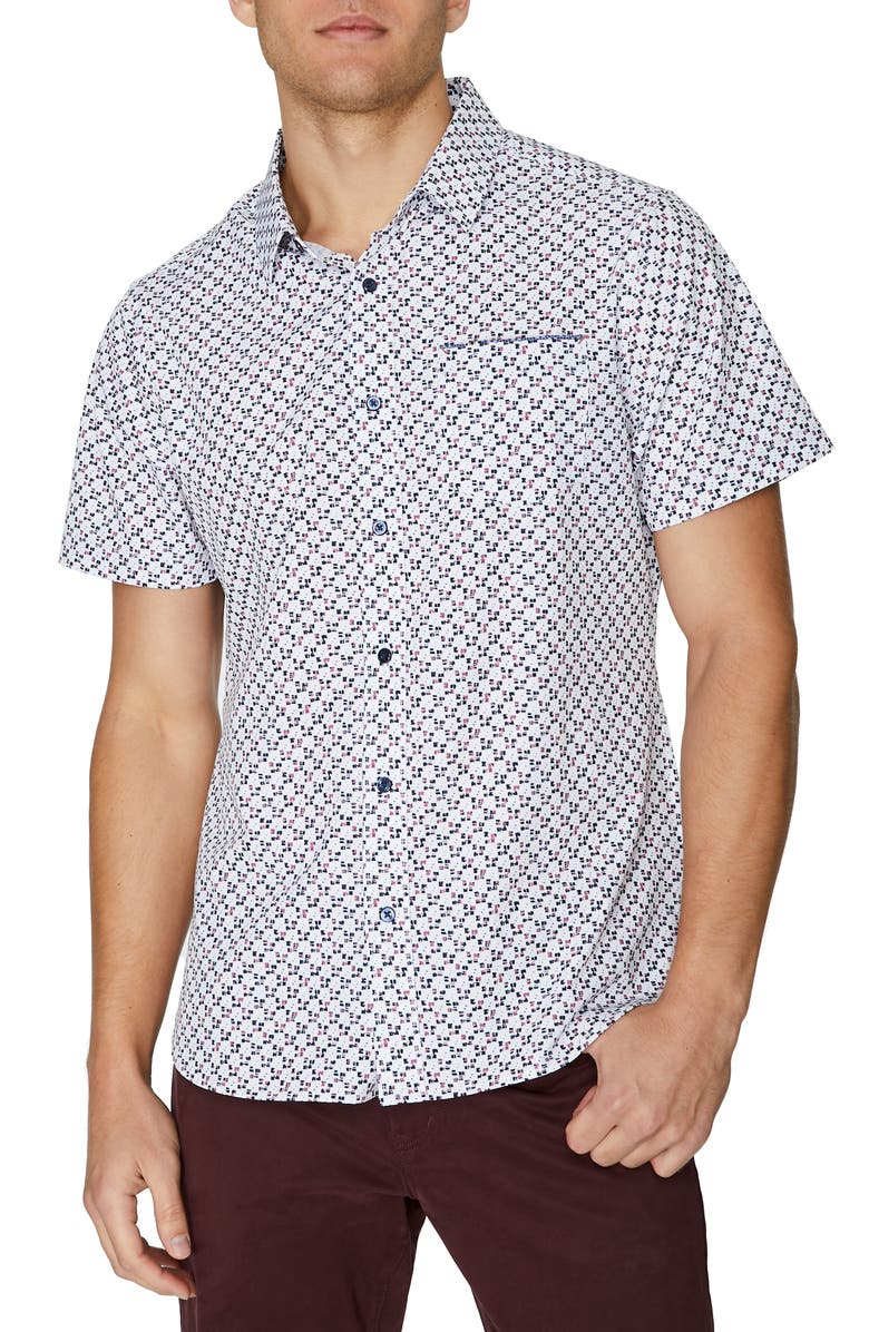 7 DIAMONDS Freedom Train Short Sleeve Stretch Button-Up Shirt, Main, color, WHITE