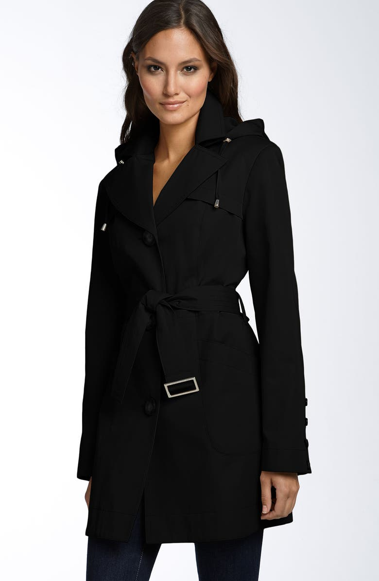 MICHAEL MICHAEL KORS Belted Trench Coat, Main, color, 001