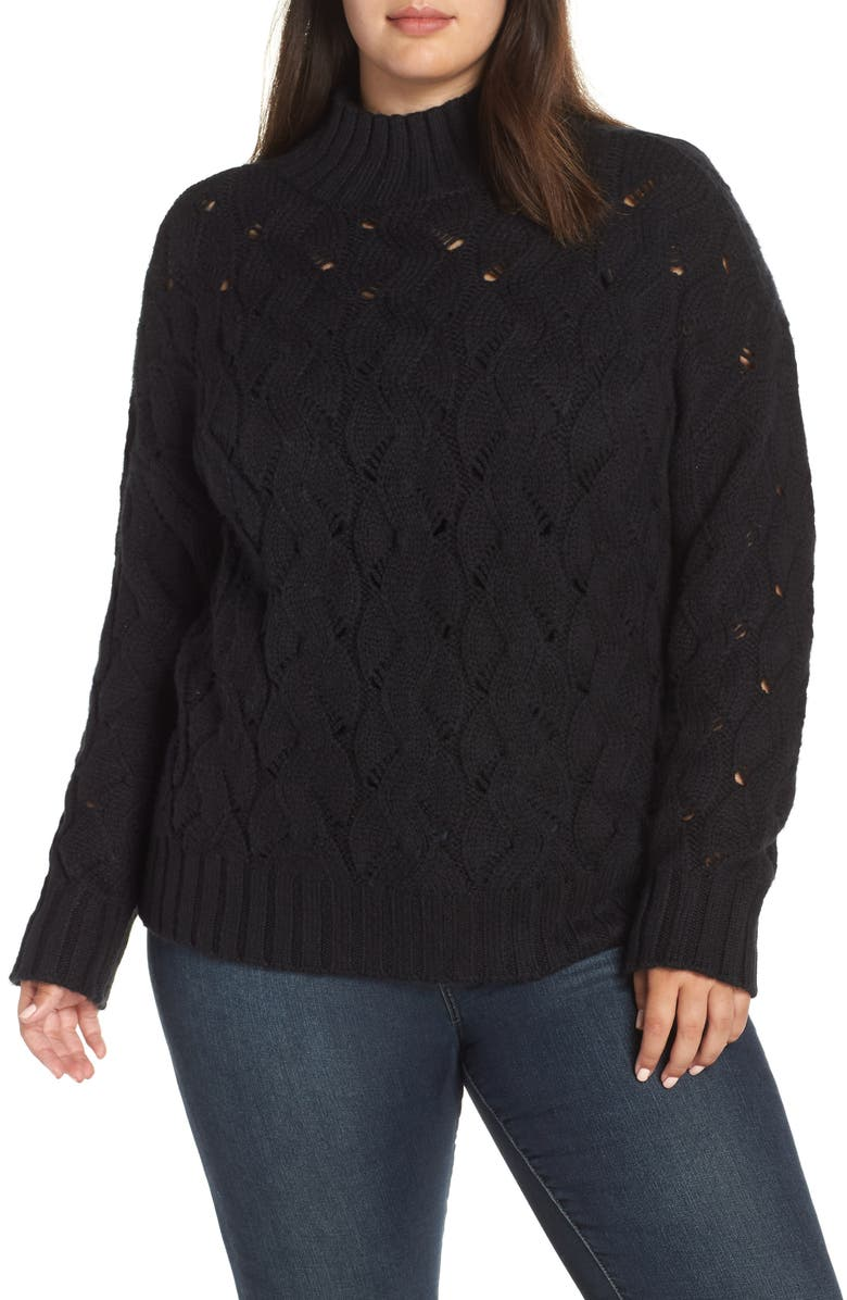 VINCE CAMUTO Texture Stitch Mock Neck Sweater, Main, color, RICH BLACK