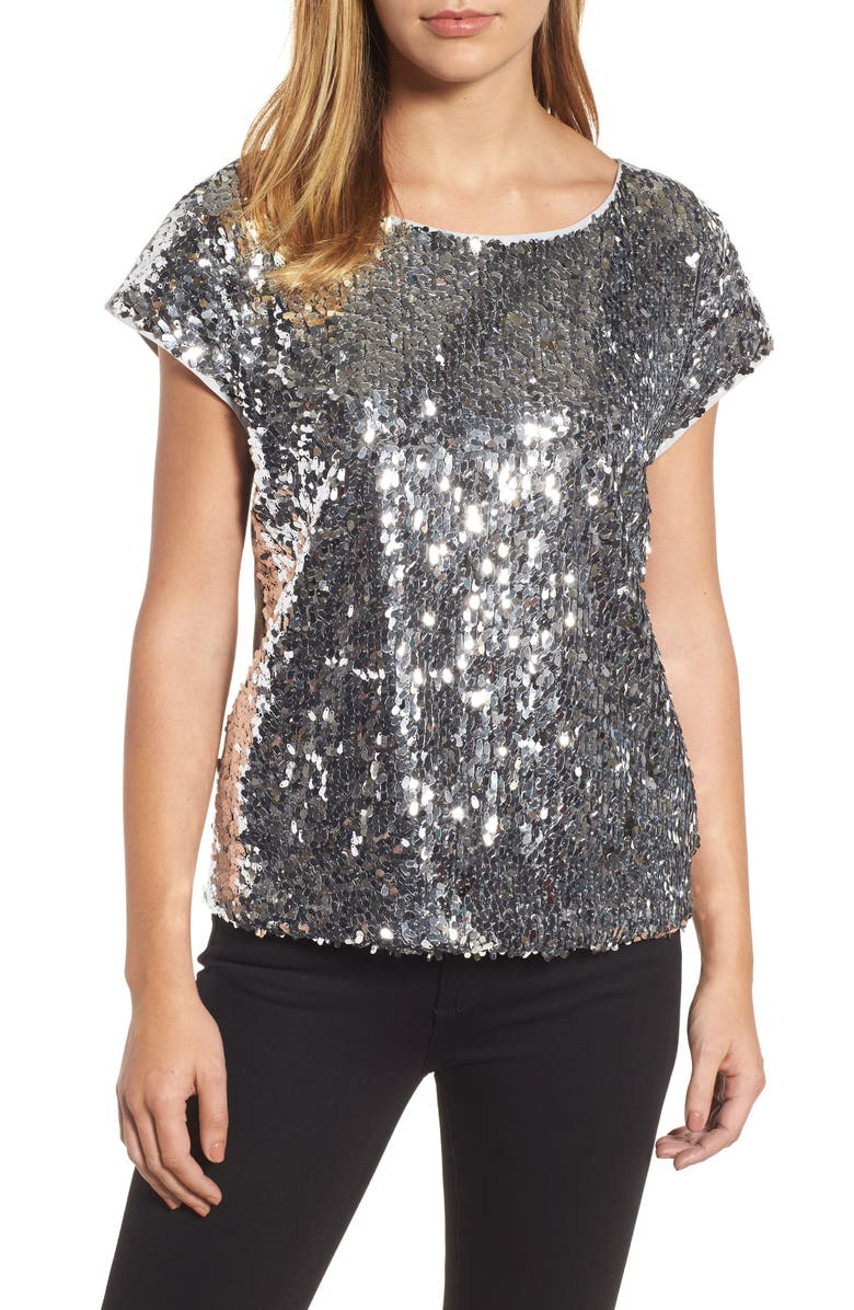 VINCE CAMUTO Sequin Front Top, Main, color, CHROME