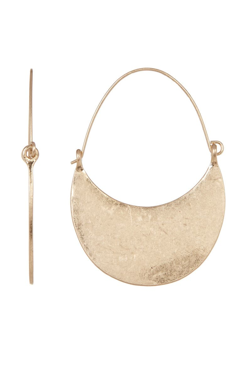 MELROSE AND MARKET Half Crescent Hoop Earrings, Main, color, GOLD