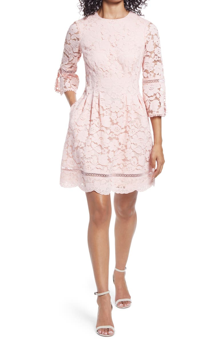 VINCE CAMUTO Lace Bell Sleeve Fit & Flare Dress, Main, color, BLUSH
