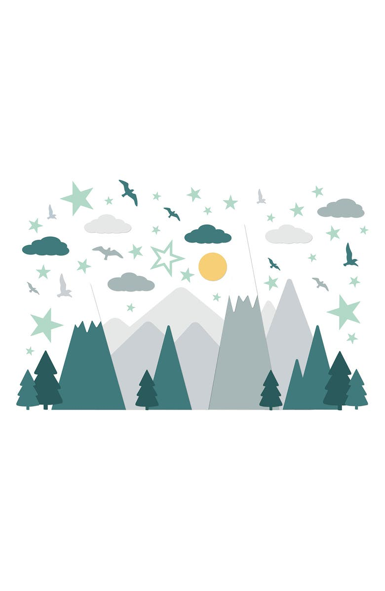 WALPLUS Grey Mountains With Glowing Stars Wall Decal Set, Main, color, GREY/GREEN