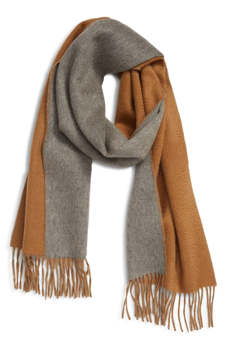 ANDREW STEWART Double Face Cashmere Scarf, Main, color, GREY/ CAMEL