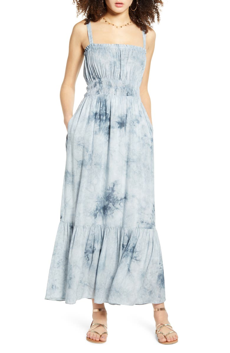 ALL IN FAVOR Smocked Waist Tie Dye Maxi Dress, Main, color, 400