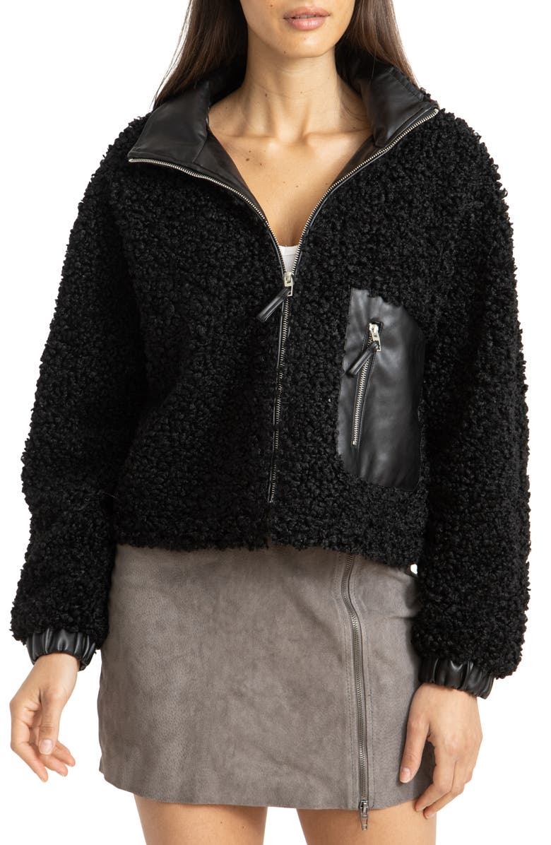 BLANKNYC Faux Shearling with Faux Leather Trim Bomber Jacket, Main, color, LAST NIGHT