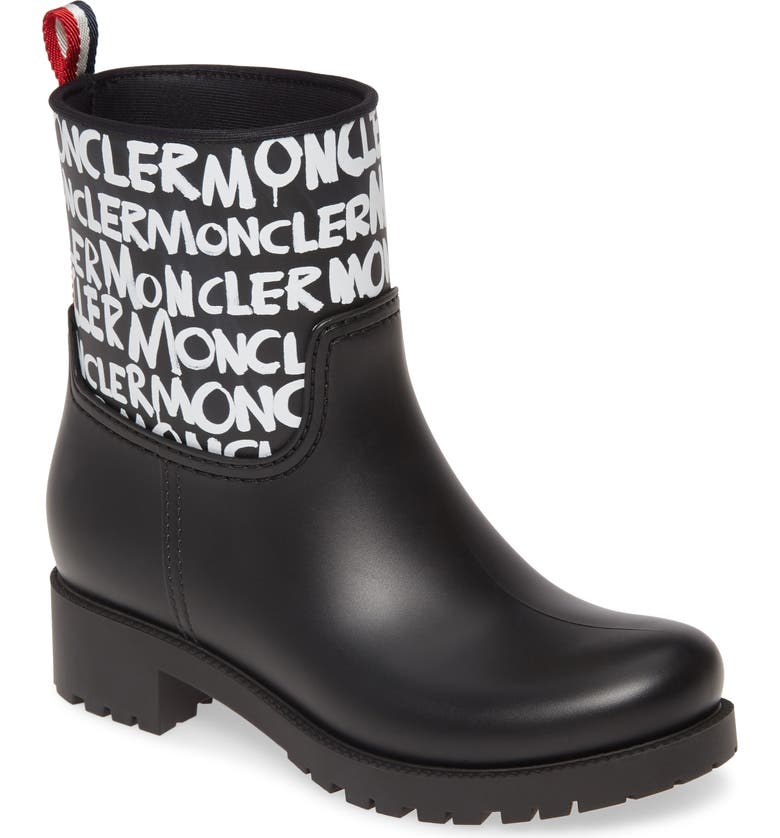 MONCLER Ginette Logo Waterproof Rain Boot, Main, color, 002