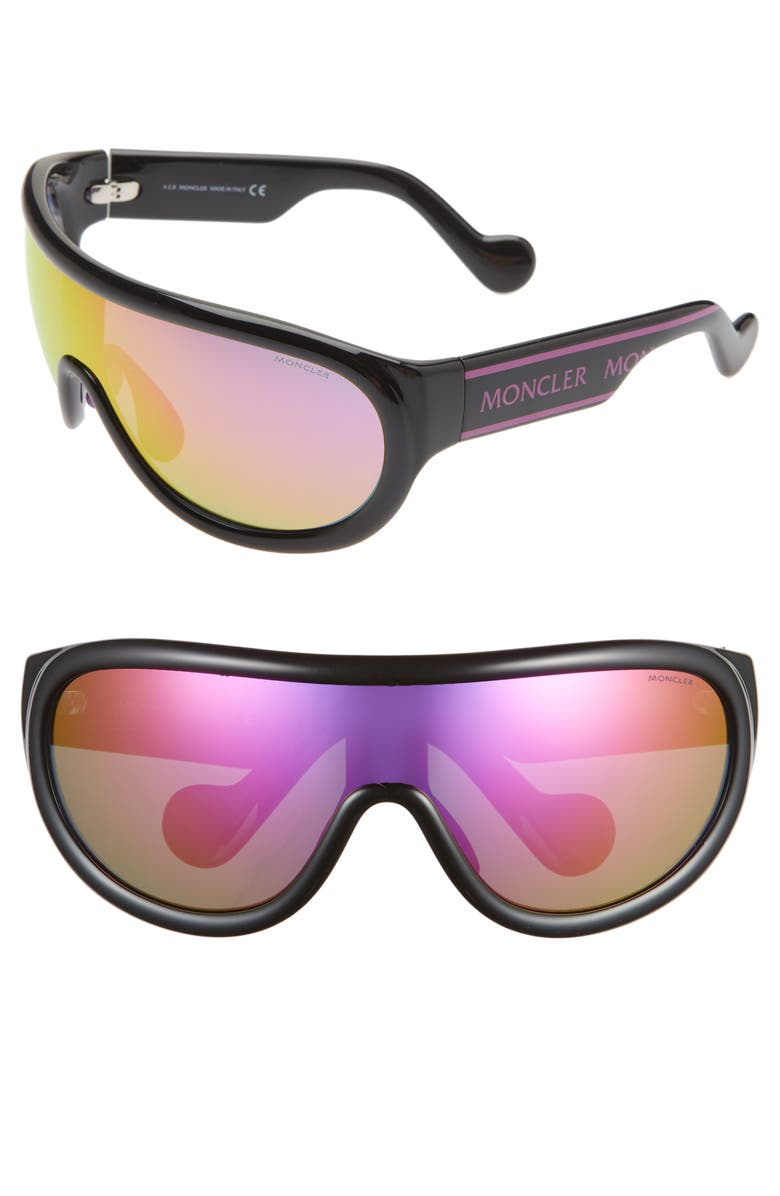 MONCLER 155mm Mirrored Shield Sunglasses, Main, color, 005