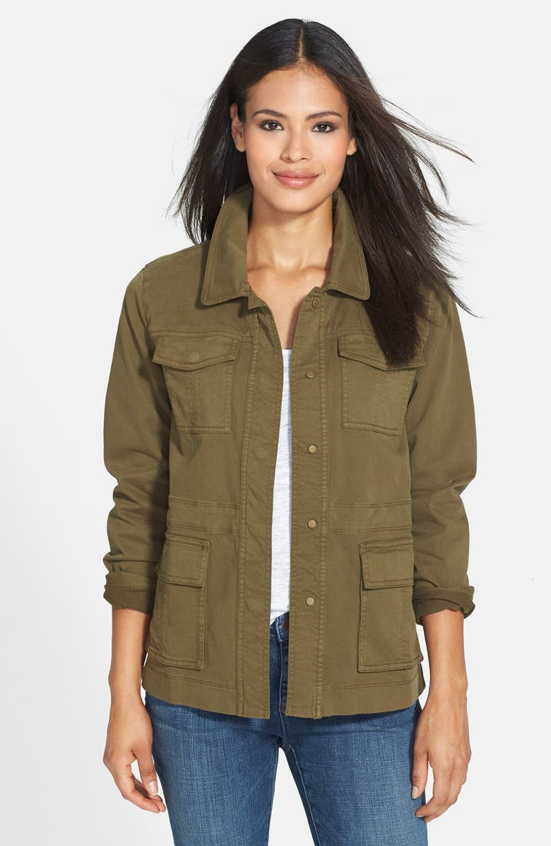 EILEEN FISHER The Fisher Project Classic Collar Stretch Twill Jacket, Main, color, OLIVE
