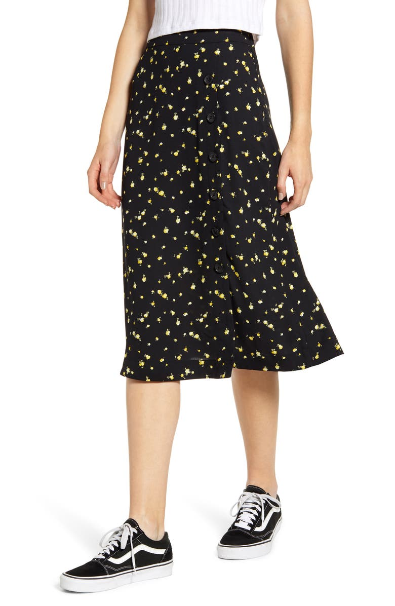 BP. Floral Side Button Midi Skirt, Main, color, 001