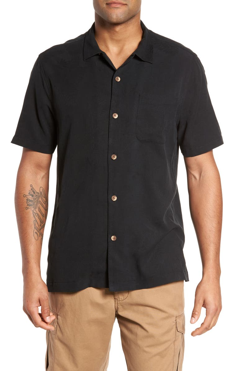 TOMMY BAHAMA St Lucia Fronds Silk Camp Shirt, Main, color, 001