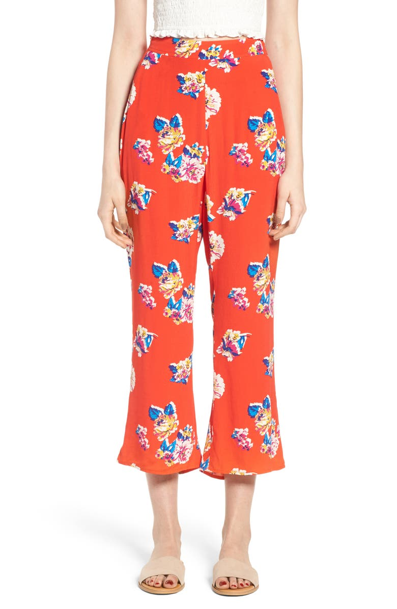 BP. Print Crop Flare Pants, Main, color, RED FIERY BOLD BLOOMS