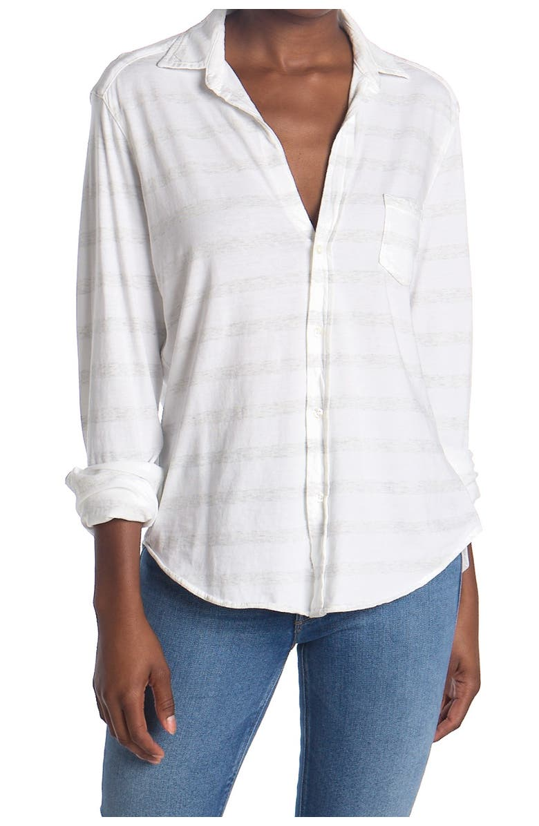 FRANK AND EILEEN Striped Relaxed Fit Tunic Shirt, Main, color, WHT/ HEATHER WHT MELANGE STRI
