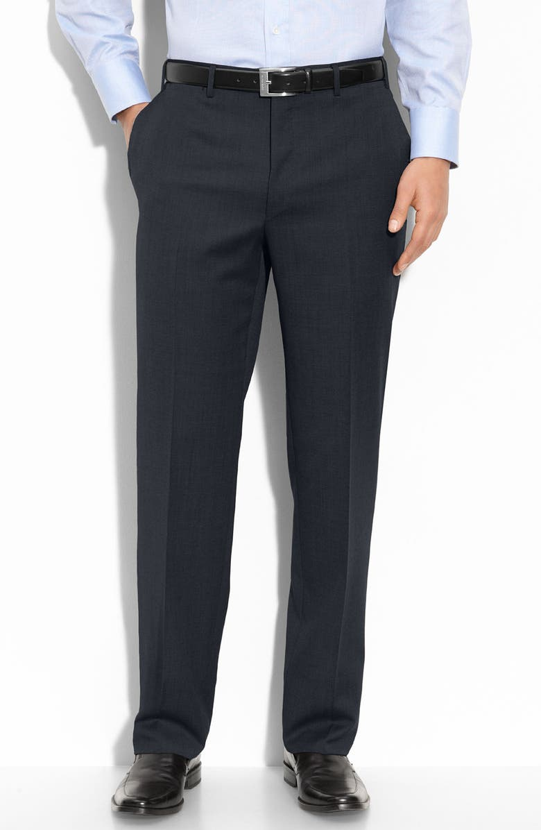 CANALI Flat Front Wool Trousers, Main, color, NAVY