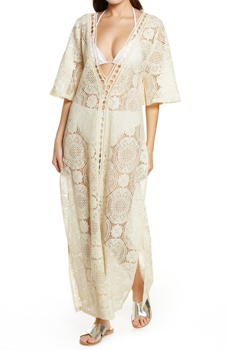 CHELSEA28 Lace Cover-Up Maxi Dress, Main, color, IVORY SHADOW