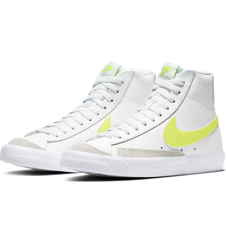 NIKE Blazer Mid '77 High Top Sneaker, Main, color, WHITE/ LEMON VENOM/ PLATINUM