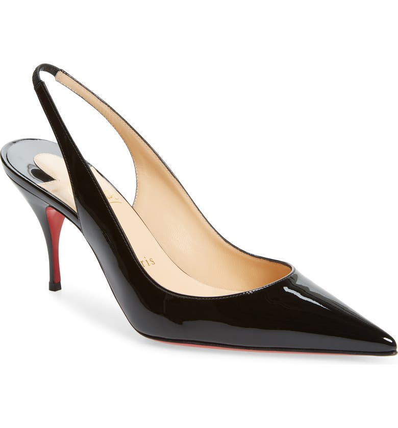 CHRISTIAN LOUBOUTIN Clare Pointed Toe Slingback Pump, Main, color, BLACK PATENT