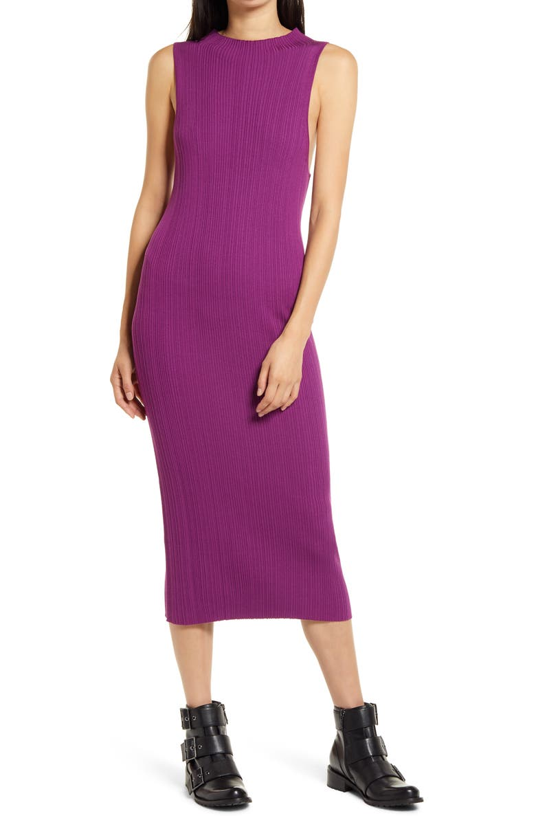 NINETY PERCENT Mock Neck Ribbed Midi Dress, Main, color, VIOLET