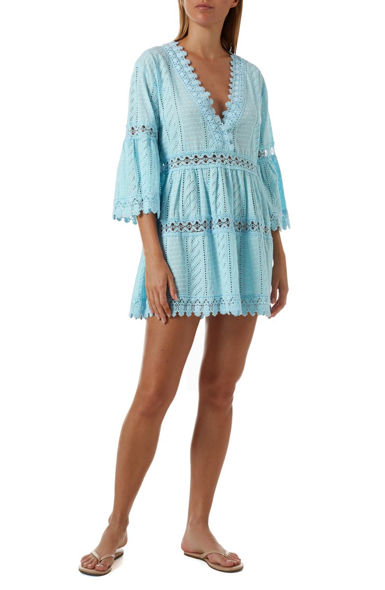 MELISSA ODABASH Victoria Cover-Up Dress, Main, color, CELESTE