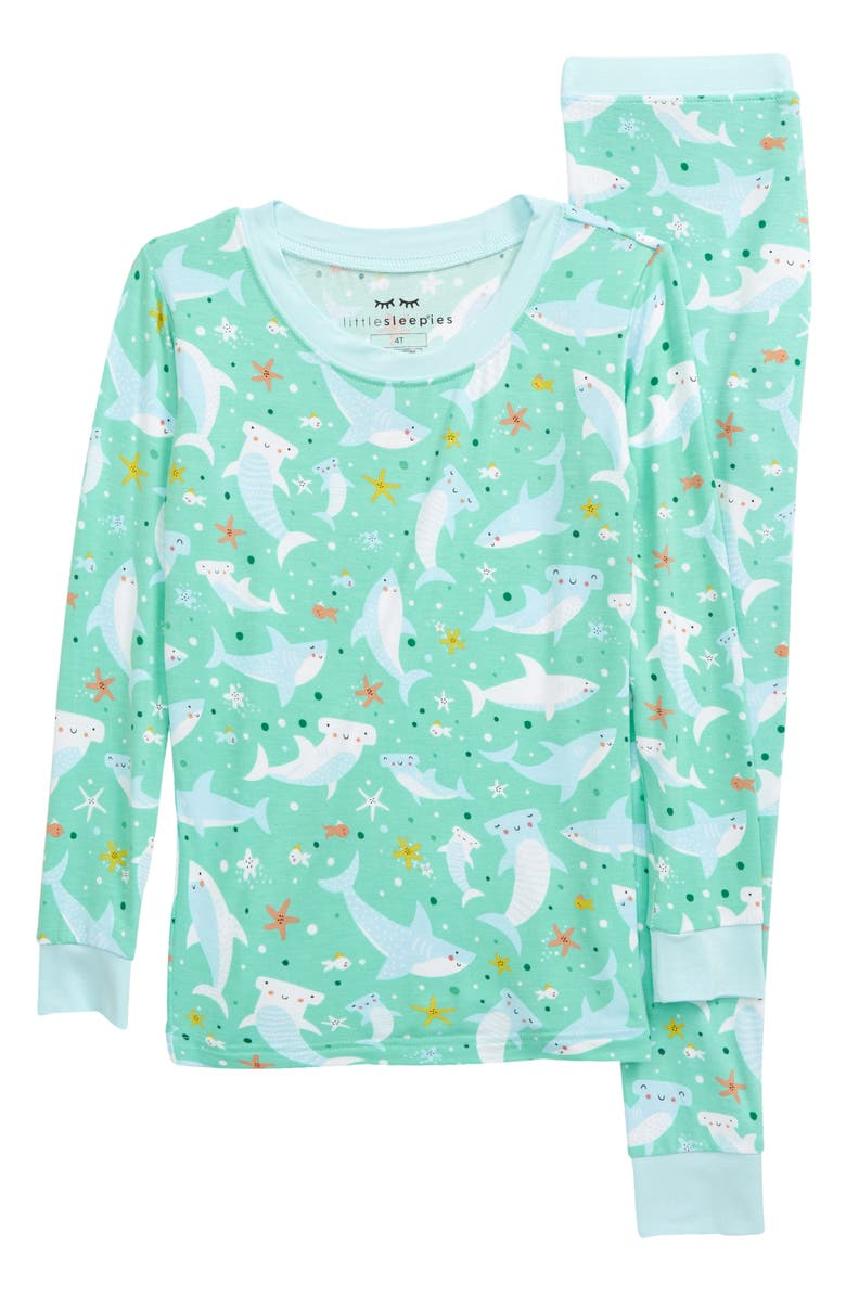 LITTLE SLEEPIES Kids' Shark Print Fitted Two-Piece Pajamas, Main, color, SHARKS SOIREE