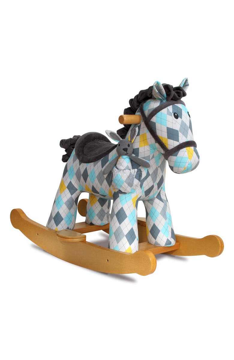 LITTLE BIRD TOLD ME Lewis & Fitz Rocking Horse & Stuffed Animal, Main, color, 400