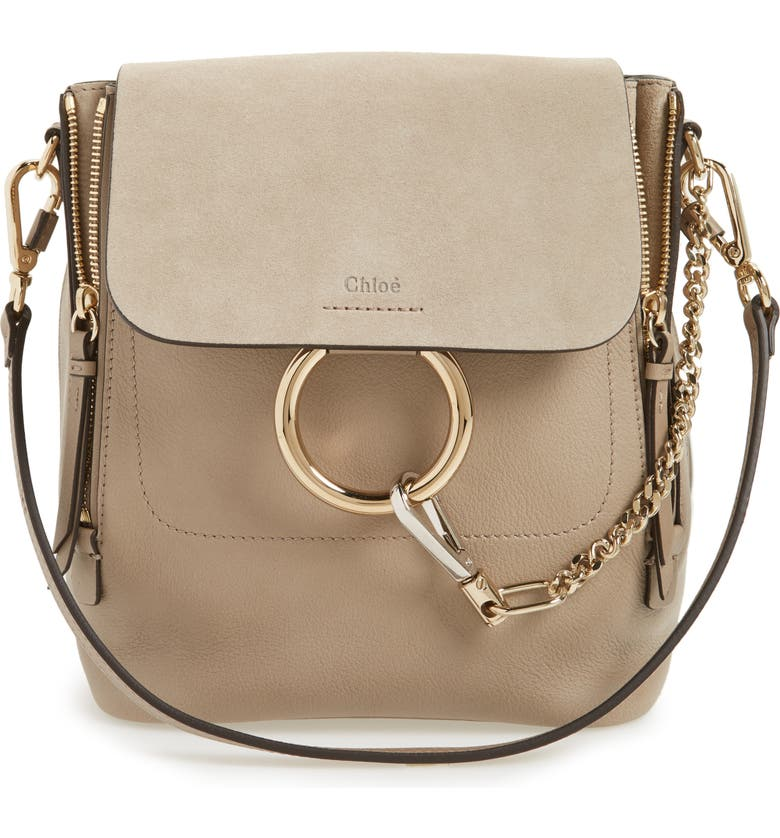 CHLOÉ Small Faye Suede & Leather Backpack, Main, color, 031
