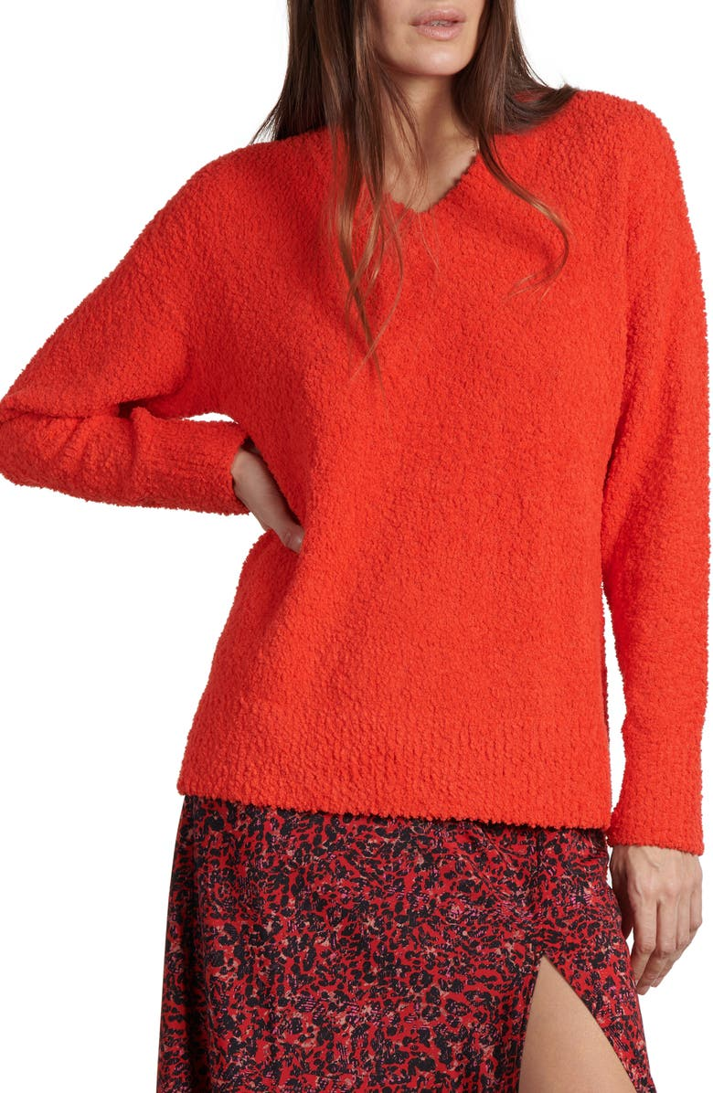 SANCTUARY Teddy Sweater, Main, color, PUNK RED
