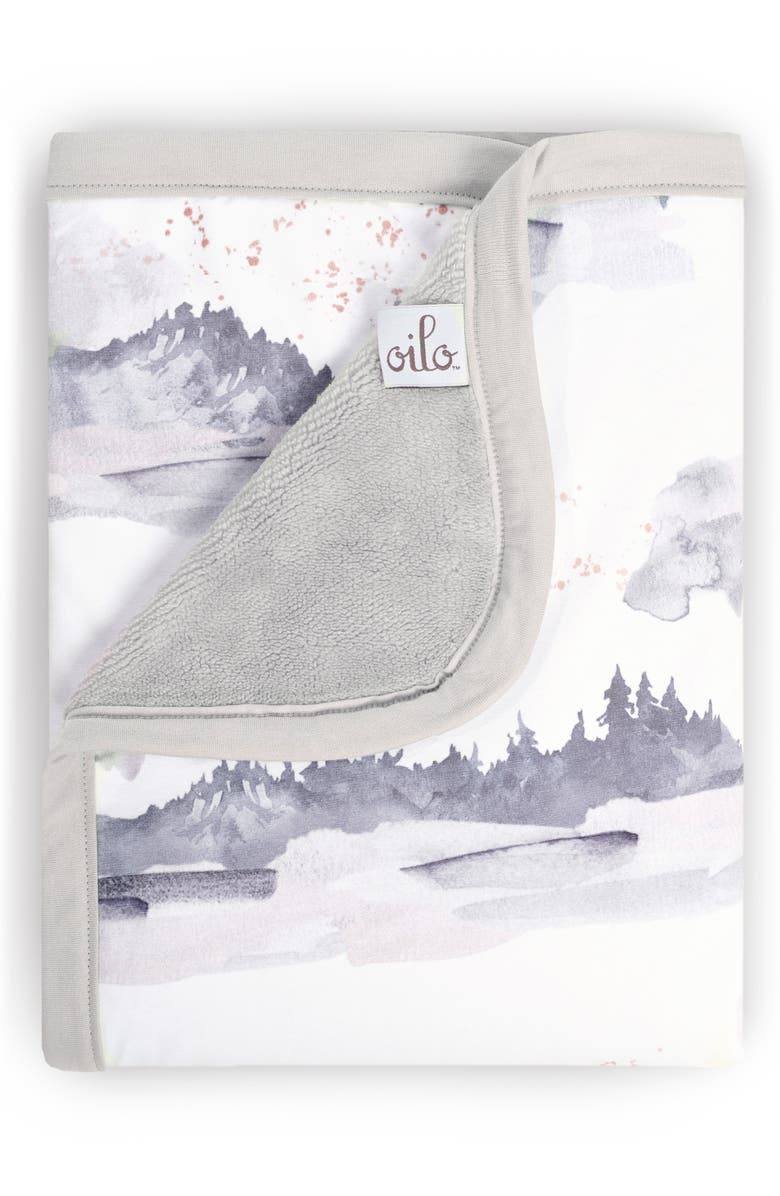 OILO Misty Mountain Jersey Cuddle Blanket, Main, color, STONE
