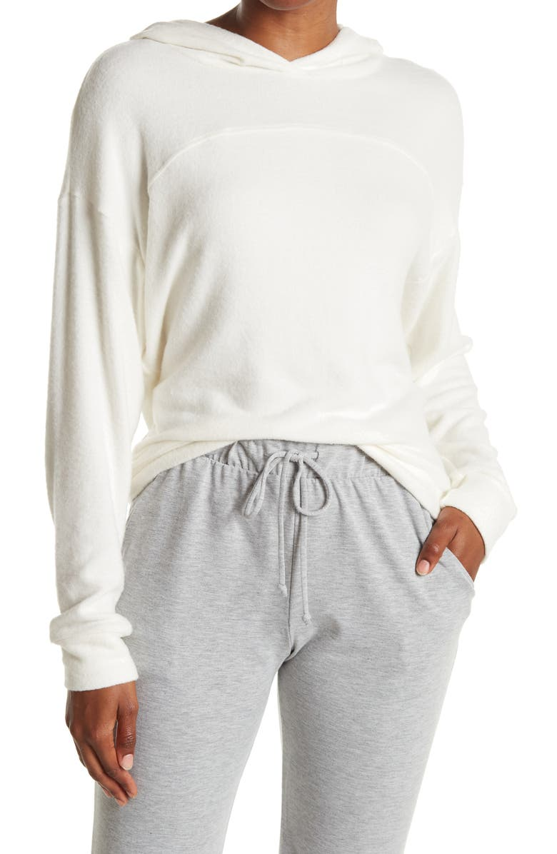 SOCIALITE Brushed Knit Hoodie, Main, color, OFF WHITE