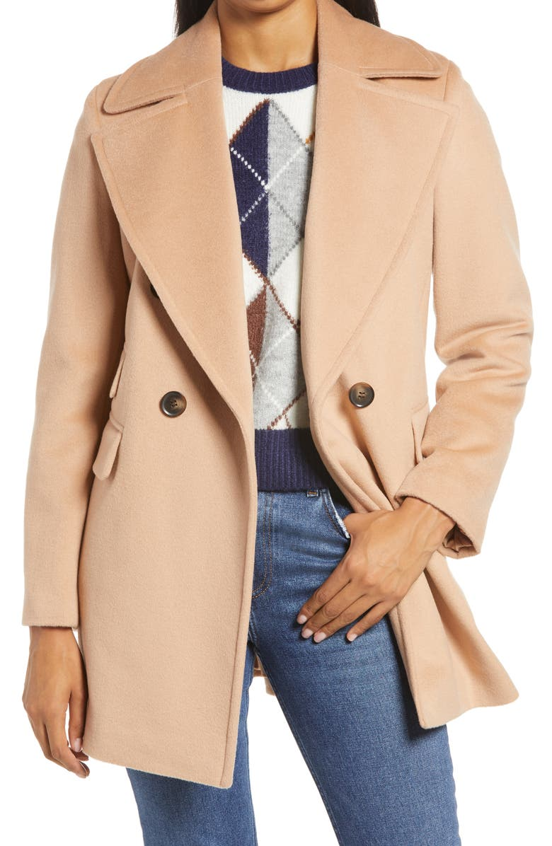 HALOGEN<SUP>®</SUP> x Atlantic-Pacific Double Breasted Wool Blend Coat, Main, color, TAN SUGAR