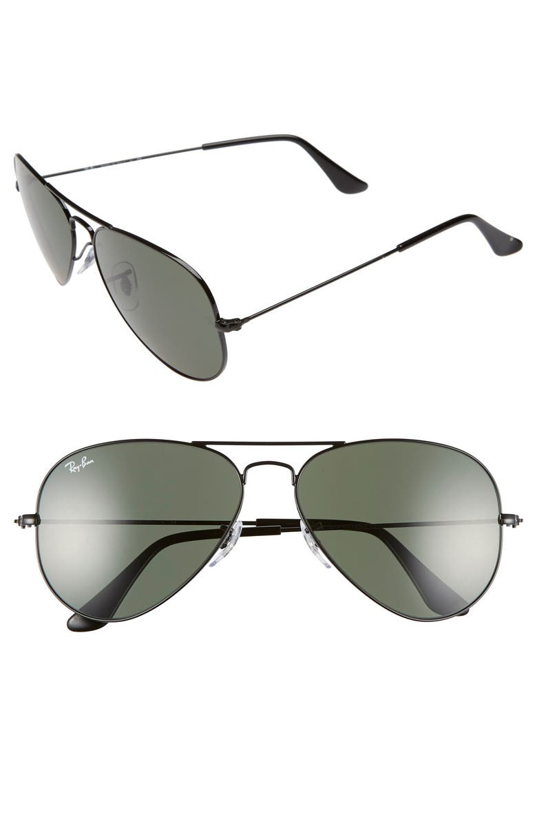 RAY-BAN Standard Original 58mm Aviator Sunglasses, Main, color, BLACK