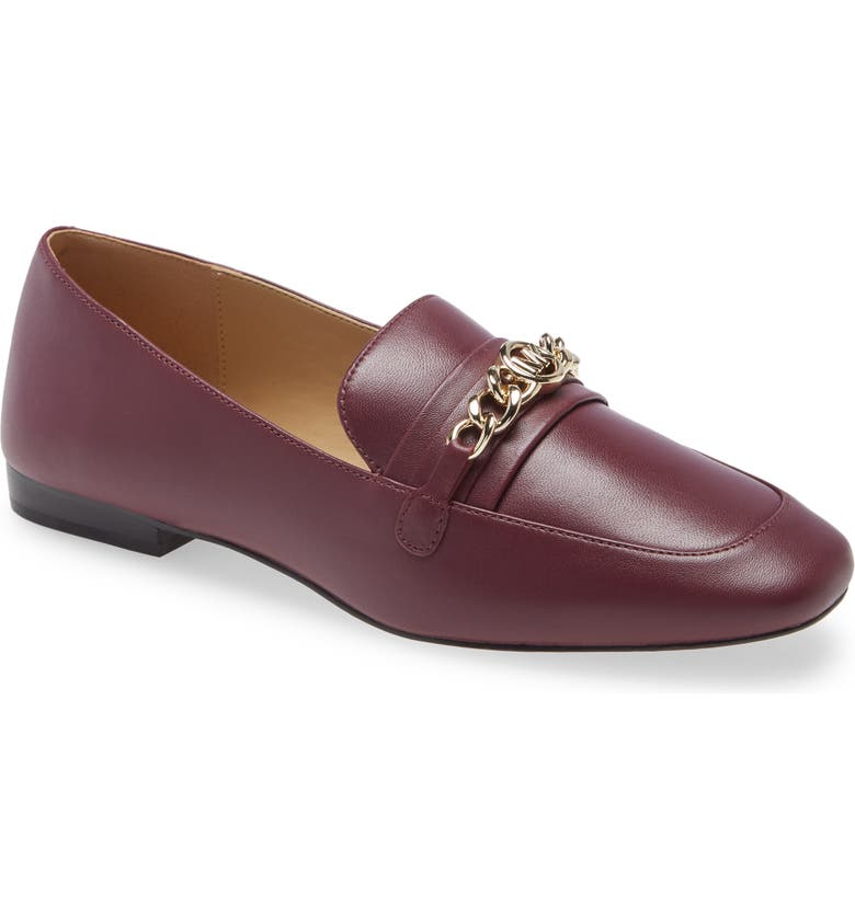 MICHAEL MICHAEL KORS Dolores Chain Loafer, Main, color, DARK BERRY LEATHER