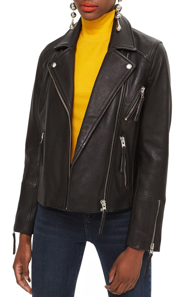 TOPSHOP Dolly Leather Biker Jacket, Main, color, 001