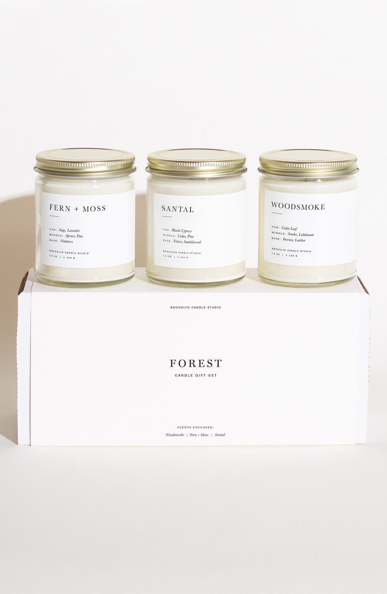 BROOKLYN CANDLE Studio Set of 3 Scented Candle Gift Set, Main, color, FOREST