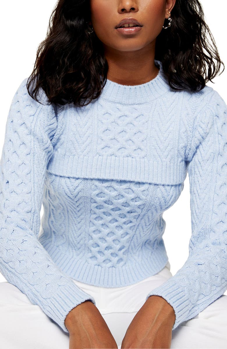 TOPSHOP Cable Sweater & Tank, Main, color, LIGHT BLUE