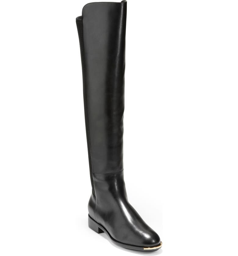 COLE HAAN Grand Ambition Huntington Over the Knee Boot, Main, color, BLACK LEATHER/ STRETCH FABRIC