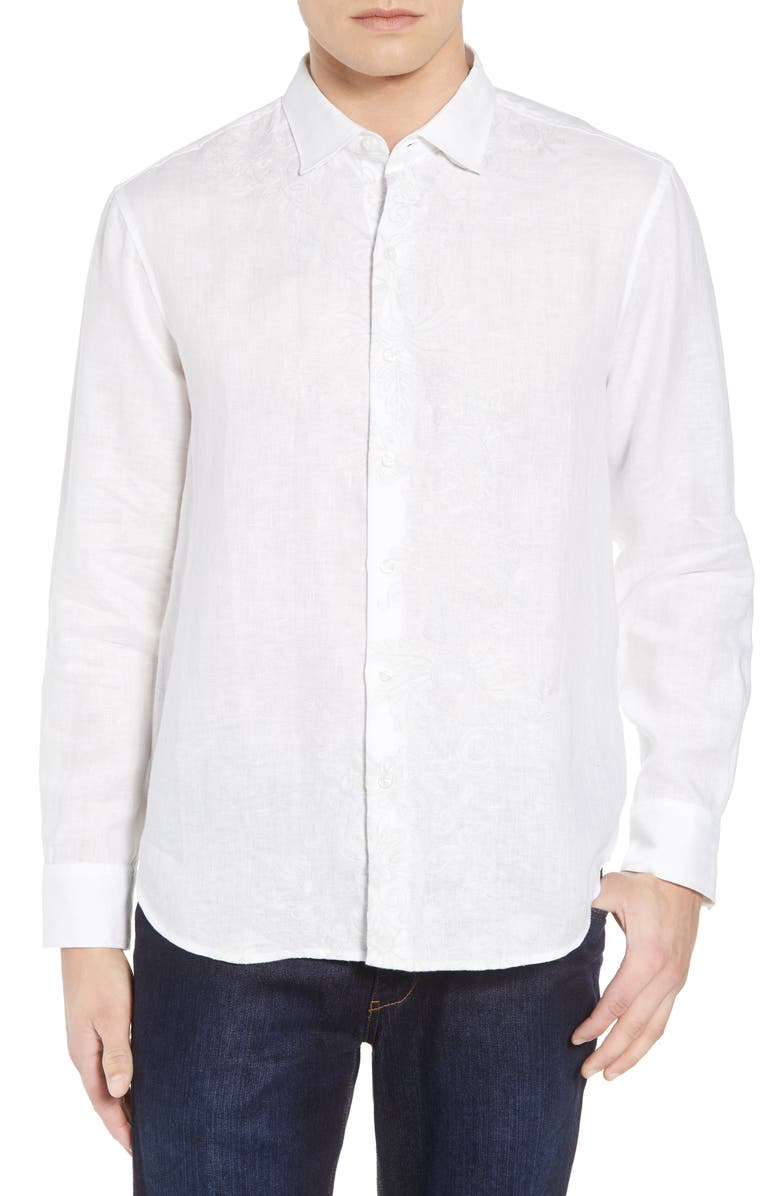 TOMMY BAHAMA Get Your Groom On Linen Sport Shirt, Main, color, 100