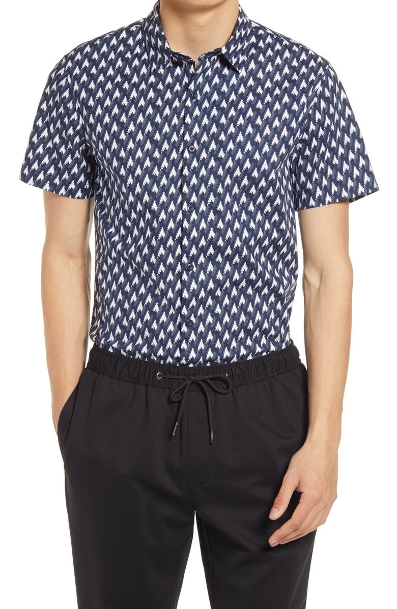 OPEN EDIT Short Sleeve Stretch Button-Up Shirt, Main, color, NAVY ECLIPSE GEO