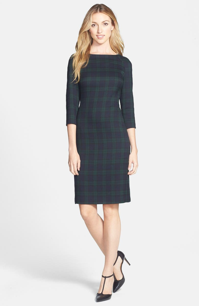 ANNE KLEIN Plaid Sheath Dress, Main, color, 310