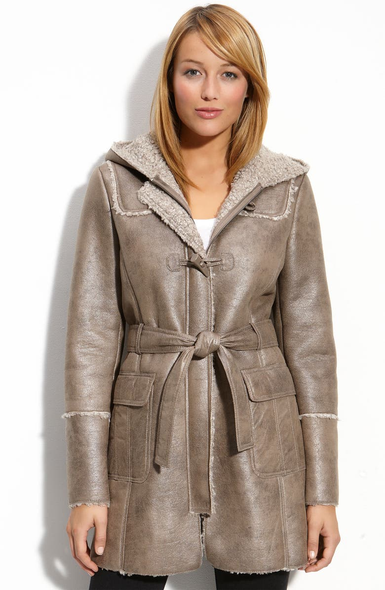 KENNETH COLE NEW YORK Hooded Faux Shearling Coat, Main, color, TAN