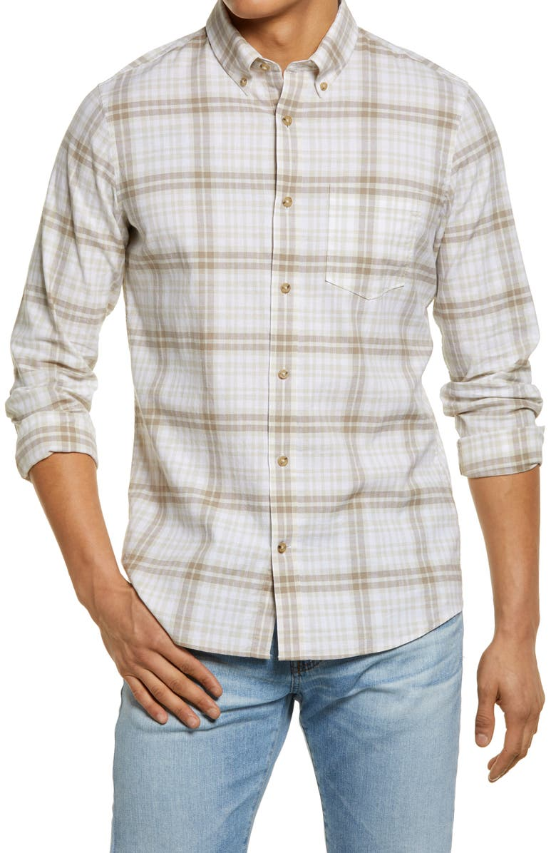 NORDSTROM Trim Fit Plaid Button-Down Shirt, Main, color, TAN/ GREY/ WHITE PLAID