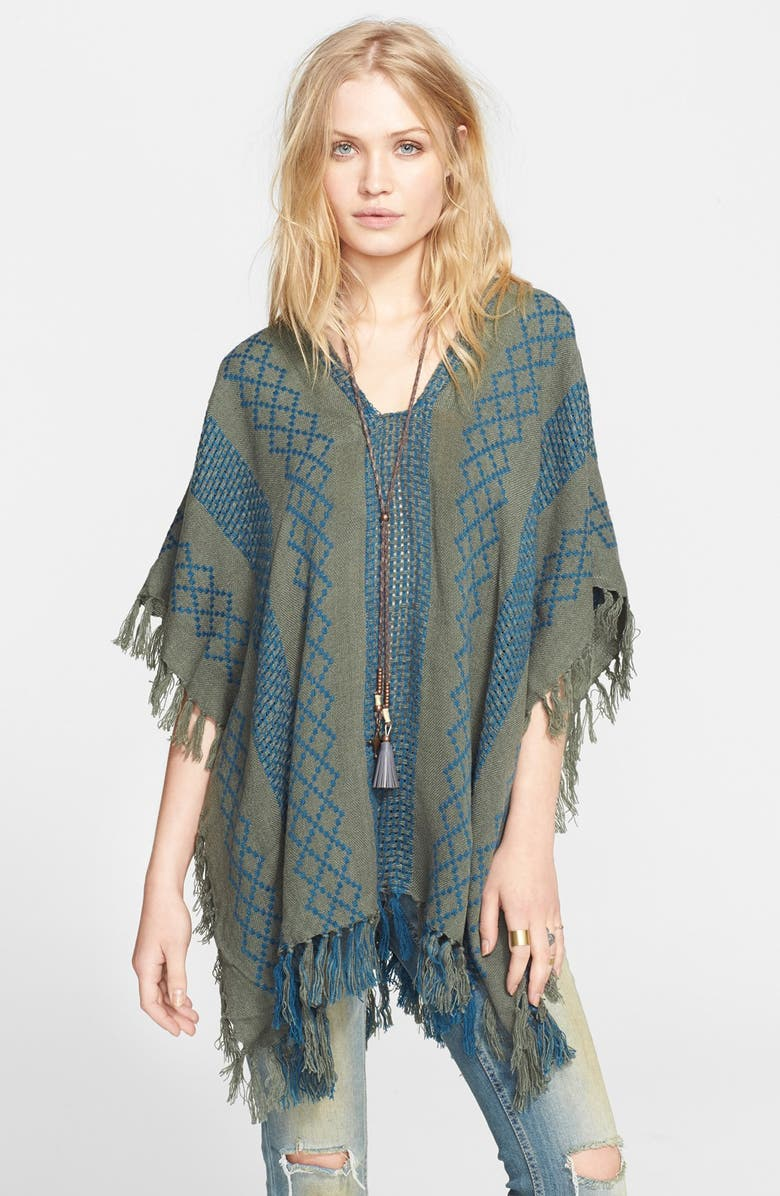 FREE PEOPLE Woven Pattern Poncho, Main, color, 020