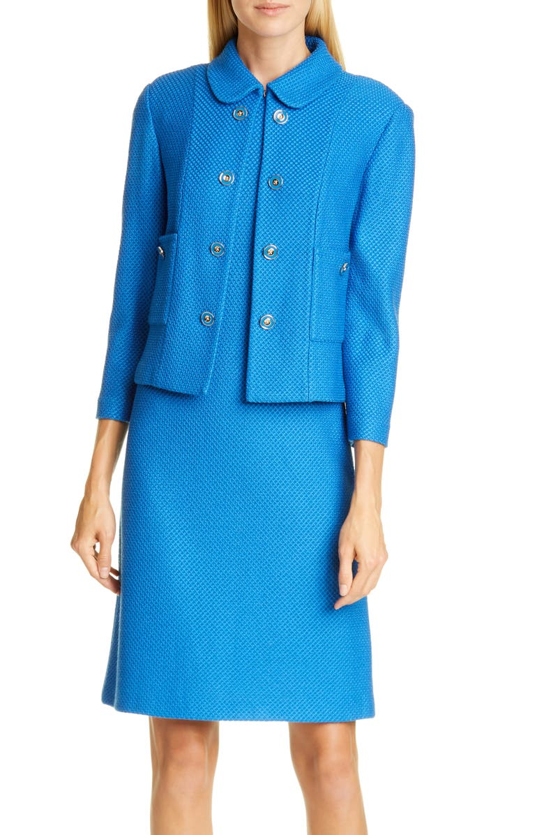 ST. JOHN COLLECTION Peter Pan Collar Honeycomb Knit Wool Blend Cropped Jacket, Main, color, SCUBA BLUE