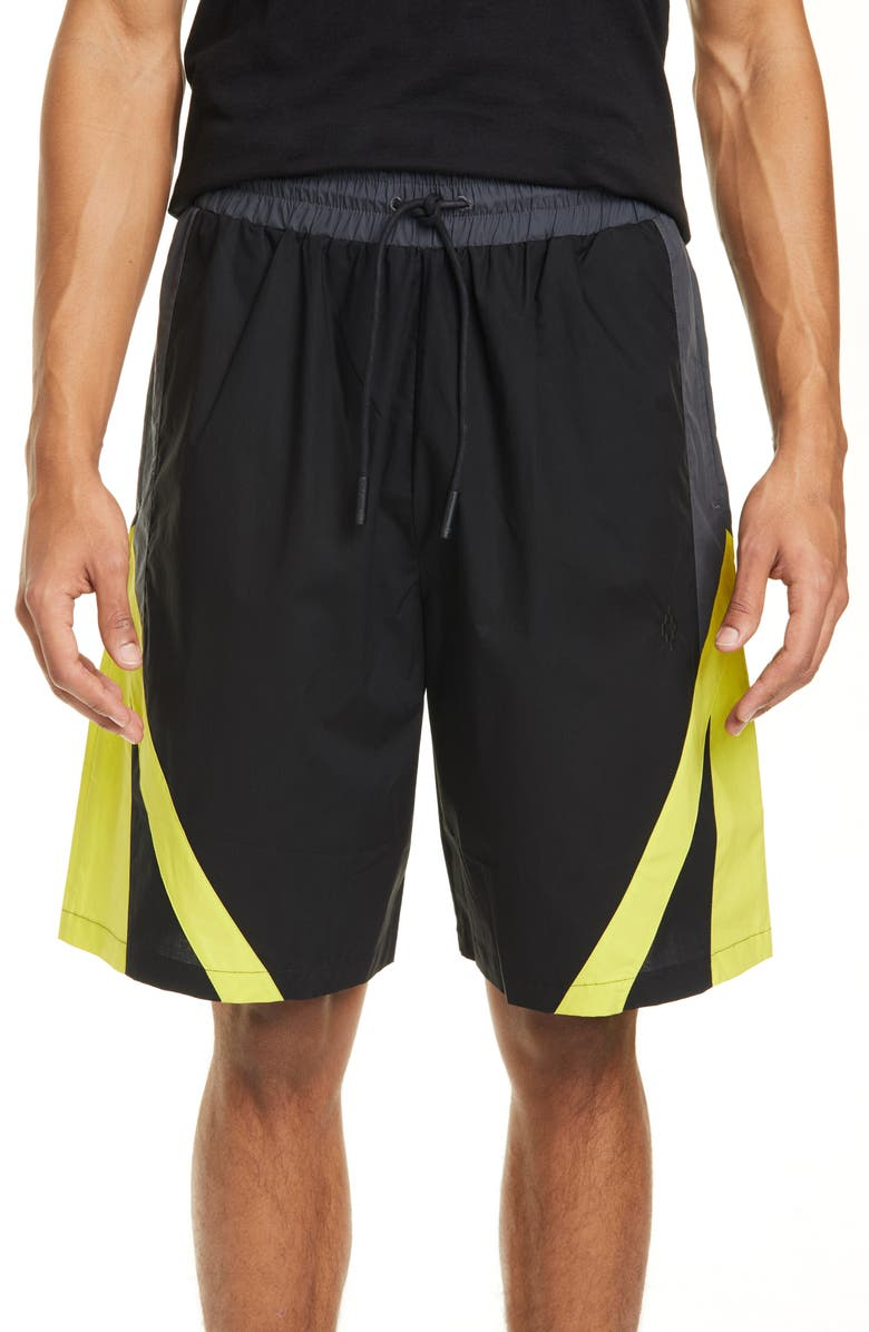 MARCELO BURLON Dynamic Cotton Blend Board Shorts, Main, color, 001