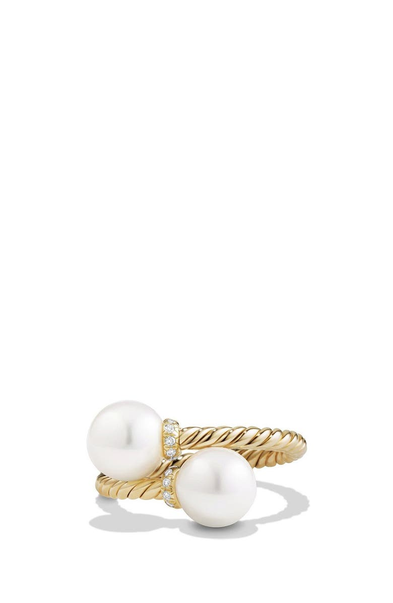 DAVID YURMAN Solari Bypass Ring with Diamonds and Pearls in 18K Gold, Main, color, PEARL