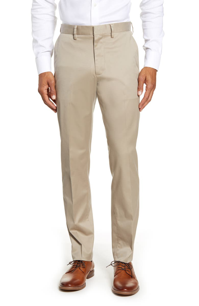 NORDSTROM Athletic Fit Leg Non-Iron Chinos, Main, color, TAN BURROW